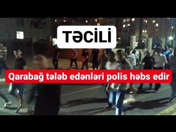 Bakıda Qarabağ tələbilə etiraza çıxan insanları polislər həbs edir CANLI