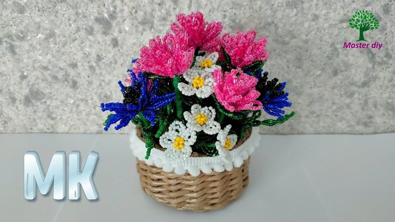 Мини композиция из бисера Полевые цветы клевер васильки почти ромашки Подробный Master diy