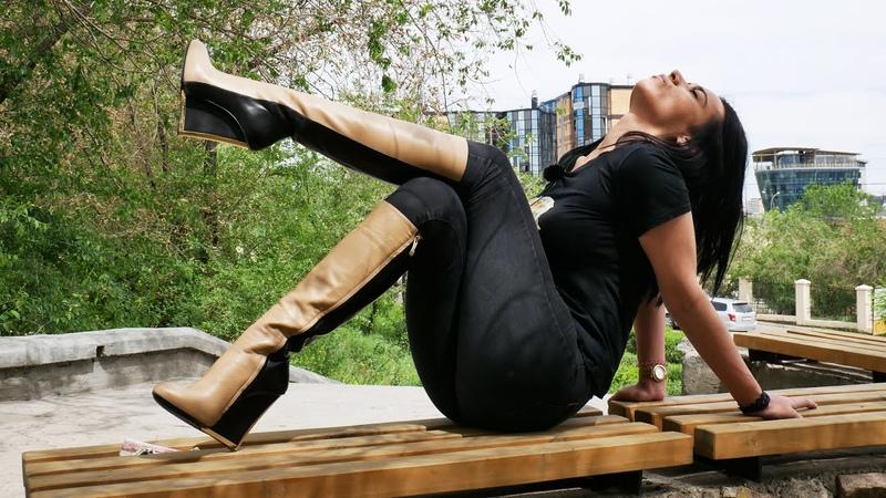 Kristina's Gianmarco Lorenzi hidden platform wedge high heels leather boots Size EU39 US 8 5