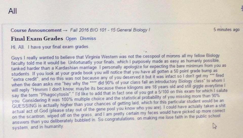 Учитель биологии потерял веру в человечество...