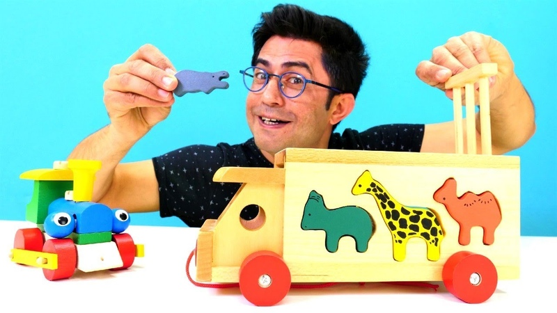 Eğitici çocuk videosu. Ahşap bloklarlar ile tren yapıp hayvanları öğreniyoruz