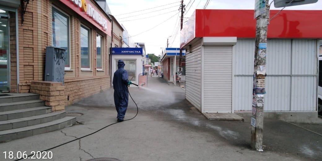 COVID-19: В Таганроге повторно проводят дезинфекцию общественных территорий