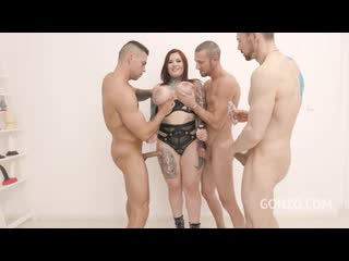 Sabien Demonia first time to Gonzo with 4on1 Airtight DP [Big Ass Butt, Anal, Big Tits, Brunette, Gape, MILF, DP, Gangbang]