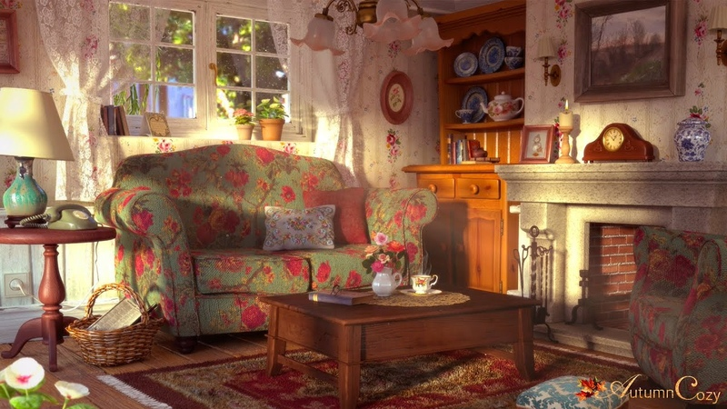 COZY VINTAGE LIVING ROOM AMBIENCE: Sunshower Sketching Sounds Rain Sounds Thunder Sounds Candle