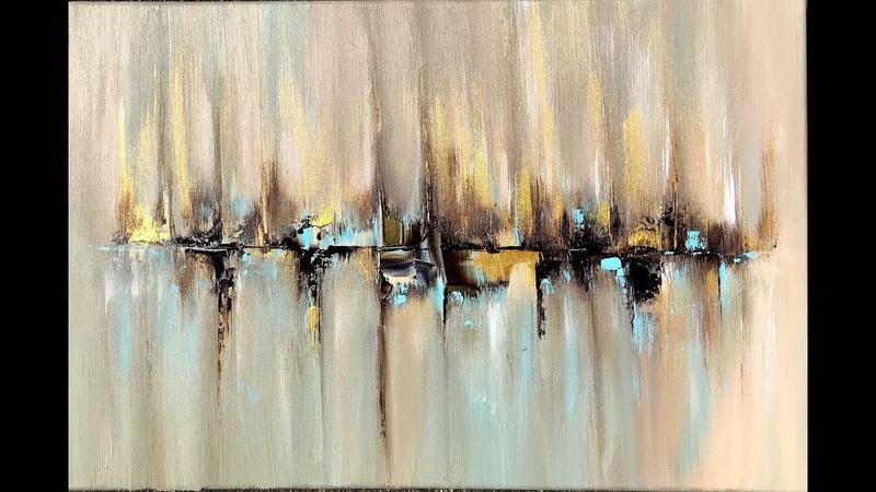 Skyline, abstract painting with Acrylic, abstract art, acrylpainting, abstrakte Malerei mit Acryl