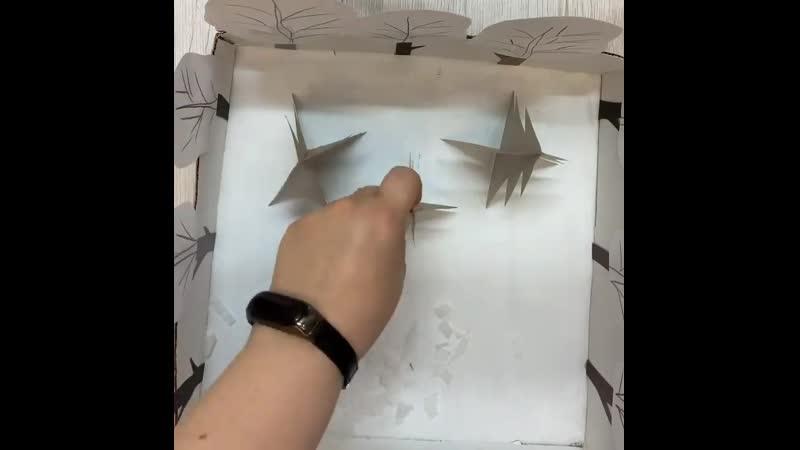 Зимний дворик из картона