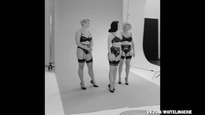 Dita Von Teese Stefania Ferrario Gia models in black lingerie Thong G Srting Garter belt try on sexy hot tits ass