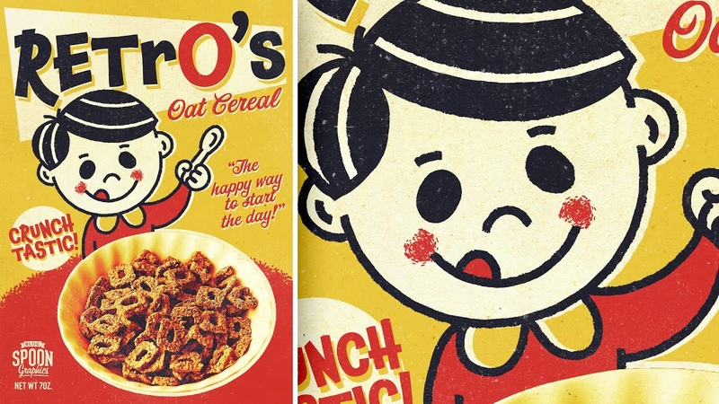 How to Create a Retro Cereal Box Design with a Mascot Character Illustrator Photoshop Tutorial