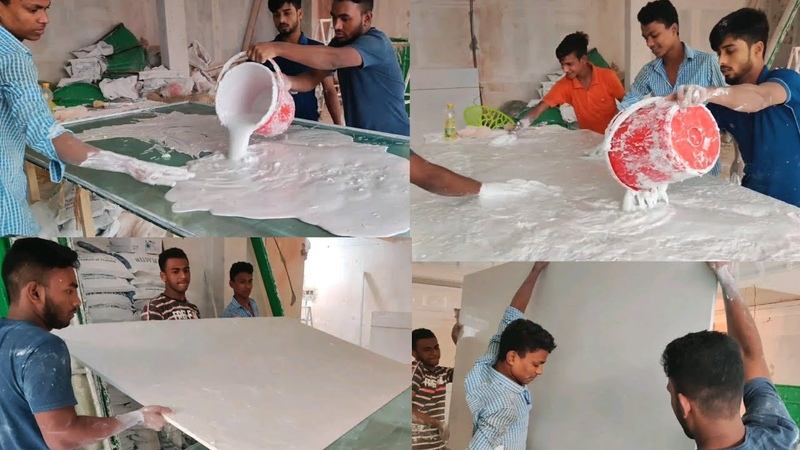 Pop Wall Partition Board Tiles Making || Gypsum Ceiling Board Partition| Plaster Desing Installation