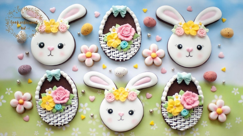 Easter Bunny Flower Wreath Basket Weave Cookie ~ Learn to pipe BURLAP WICKER Pattern with icing