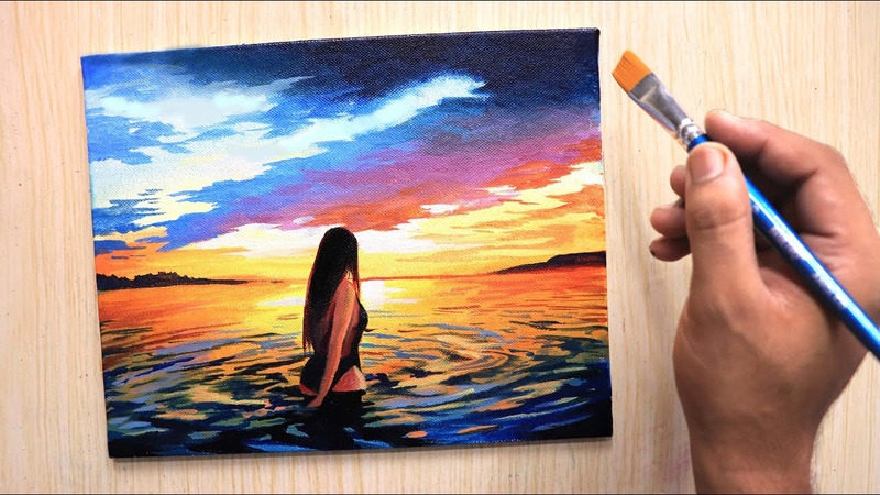 Acrylic painting of Beautiful sunset beach with girl step by step
