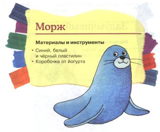 Простые поделки из пластилина - Морж Слепите из синего пластилина огурец, вытяните его с одного конца и чуть загните. Мордочку моржа слепите так же, как у кошки (но без ушек). Слепите плоские