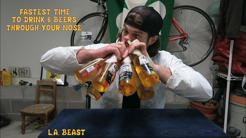 Fastest Time To Drink 6 Beers Through Your Nose L A BEAST