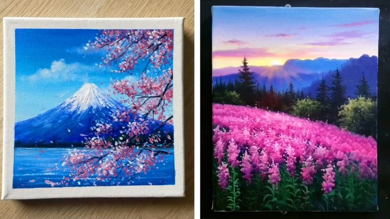 5 Cherry Blossom Scenery Paintings For Beginners - Easy Painting Ideas