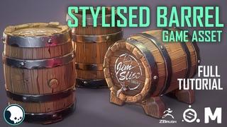 STYLISED BARREL Game Asset (FULL VERSION) -Maya-Zbrush-Substance Painter