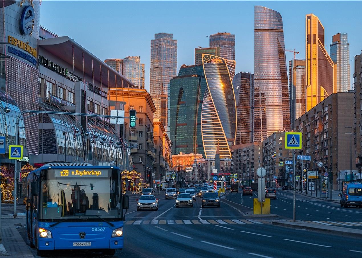 Москва Сити в ярких красках осеннего заката