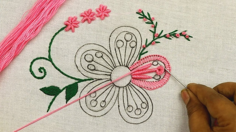 Gorgeous hand embroidery tutorial with buttonhole stitch and bullion knots @SMBordado