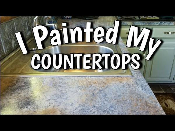How to Paint Countertops Looks Like Slate $65 DIY Budget Friendly Kitchen Update