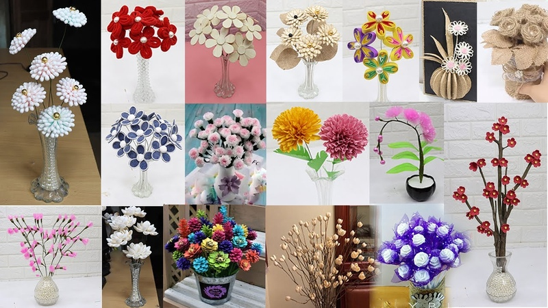 35 Flower from different materials How to make Flower Home Decor