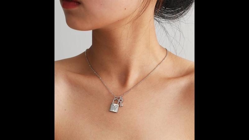 Трендовая подвеска с замком для влюбленных ожерелье ювелирные изделия женщин простая бабочка