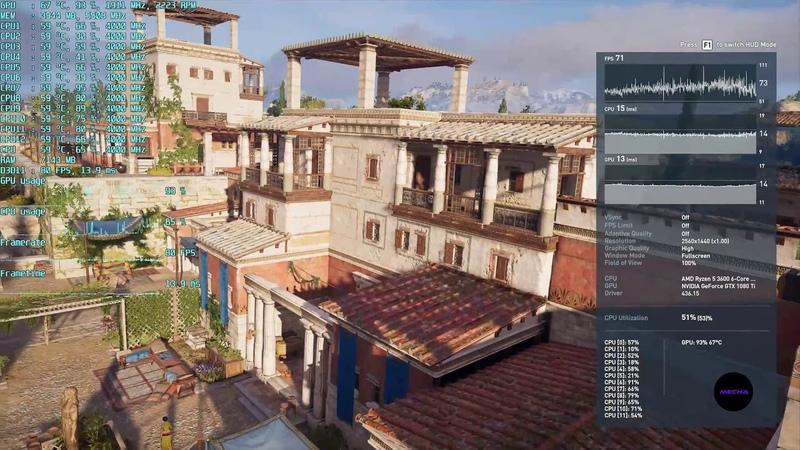 Assassin's Creed Odyssey Ryzen 5 3600 GTX 1080 Ti 1440p 1440p 0 7x